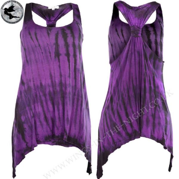 Innocent Clothing Gothic Purple Tie Dye Long Knot Top - Med